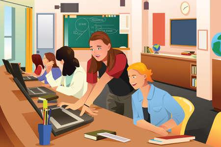Une illustration de vecteur d'une enseignante en classe d'informatique avec des étudiants
