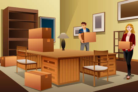 A vector illustration of Young Couple Carrying Boxes During House Moving