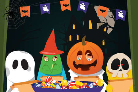 A vector illustration of  Kids Wearing Halloween Costumes Doing Trick or Treat