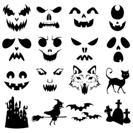 Une illustration vectorielle de modèle de citrouilles Halloween silhouettes sculptées Illustration