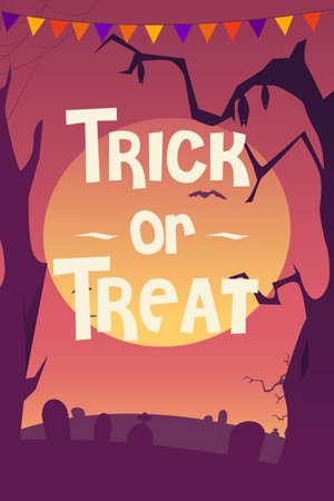 A vector illustration of Trick or Treat Halloween Poster Illustration