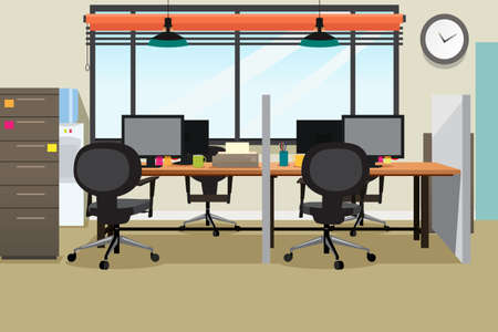 A vector illustration of Empty Office Workplace