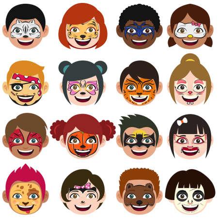 Une illustration vectorielle de Face Painted Kids Illustration