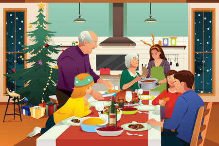 A vector illustration of Family Having Christmas Dinner Together  イラスト・ベクター素材