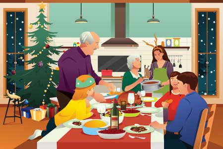 A vector illustration of Family Having Christmas Dinner Together Illustration