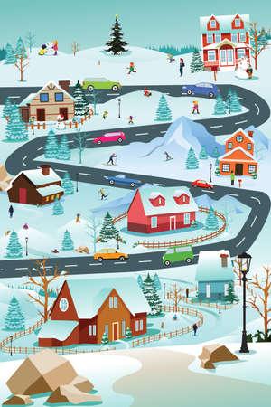 Une illustration vectorielle du village d'hiver avec des voitures et des bâtiments de personnes