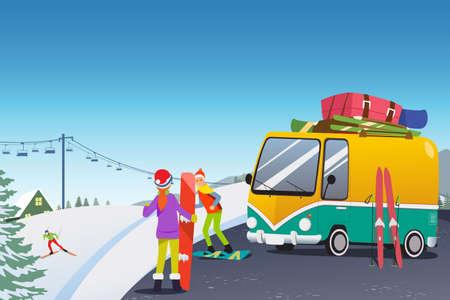 Une illustration vectorielle de Couple Snowboard dans un centre de villégiature d'hiver