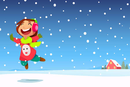 A vector illustration of Happy Girl Jumping in the Snow with Copyspace