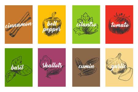 Une illustration de vecteur d'ingrédients de cuisine alimentaire sur un fond blanc. Illustration