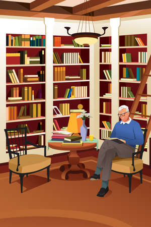 A vector illustration of Senior Man Reading a Book in the Library. Illustration