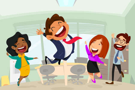 A vector illustration of Happy Business People Cartoon in Office. Ilustração