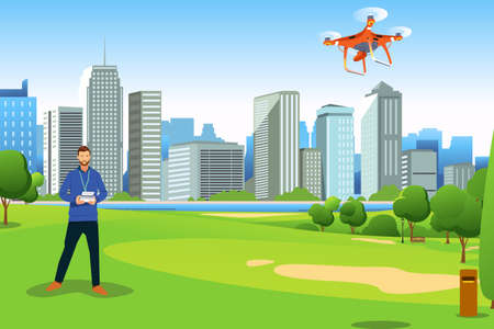 A vector illustration of Man Flying Drone in a Park.