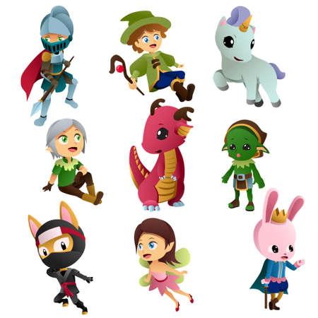 Une illustration de vecteur d'icônes de personnages de fantaisie sur un fond blanc. Illustration