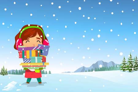 Une illustration vectorielle de Happy Girl transportant des cadeaux de Noël dans la neige. Illustration