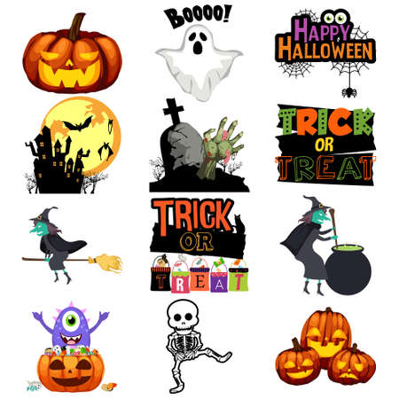 Halloween Trick or Treat Icons illustration.