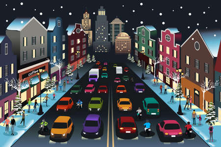 Illustration of City Scene with Traffic at Night.