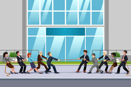 Illustration of Business People in Tug of War Illustration