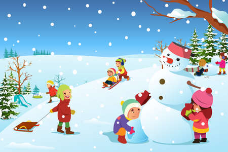 Illustration of kids Playing Outside During Winter