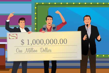 Illustration of Game Show Winner Receiving Check
