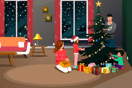 Illustration de la famille heureuse décoration arbre de Noël
