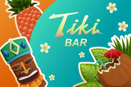 Illustration of Tiki Bar Poster Ilustracja