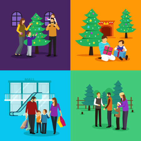 A vector illustration of People Celebrating Christmas Cliparts