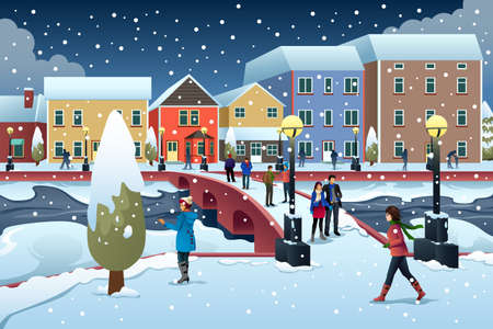 A vector illustration of People Walking in Town During Winter