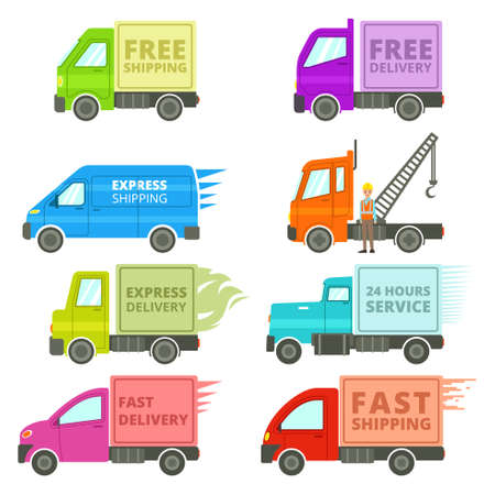 A vector illustration of Trucks With Free or Fast Shipping Signs