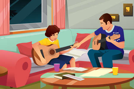 A vector illustration of father playing guitar with his son