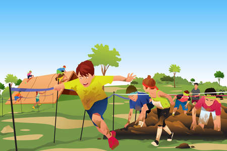 A vector illustration of Kids Competing in a Obstacle Running Course Competition