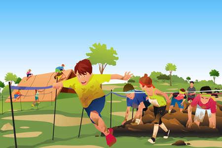 Une illustration de vecteur d'enfants participant à un concours de course à obstacles Obstacle