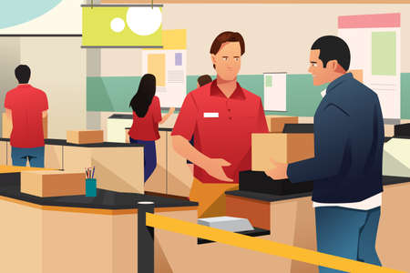 A vector illustration of Man Shipping a Box in Store