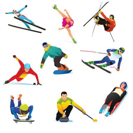 Sporty zimowe ikony sztuki klipu. Ilustracje wektorowe