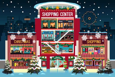 Shopping mall during christmas. Illustration