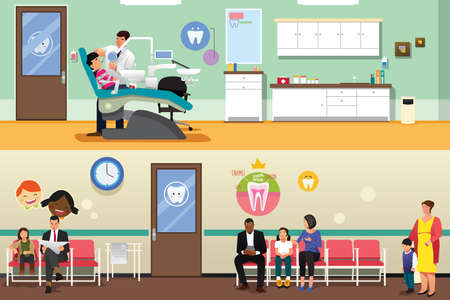 Patients and dentist at dental office.