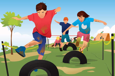 Kids competing in an obstacle.