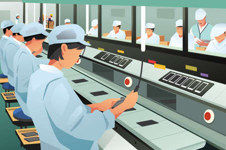 Workers in factory illustration.