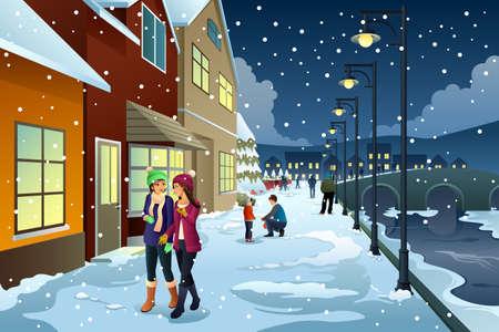 People walking in town during winter.