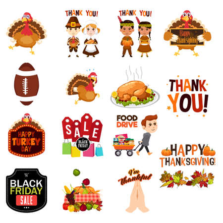 Thanksgiving clip arts illustration.