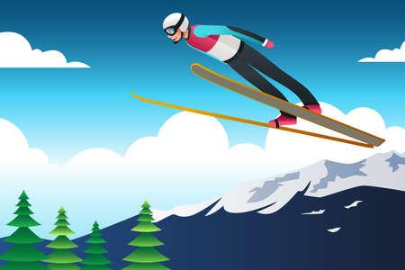 Ski jumping athlete illustration. Stock Illustratie