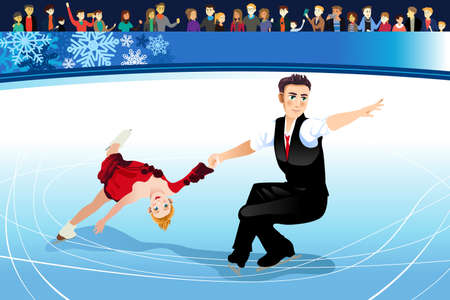 Man and woman skating illustration.