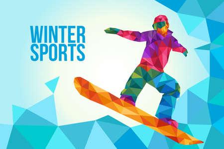 Snow boarding illustration. Vettoriali