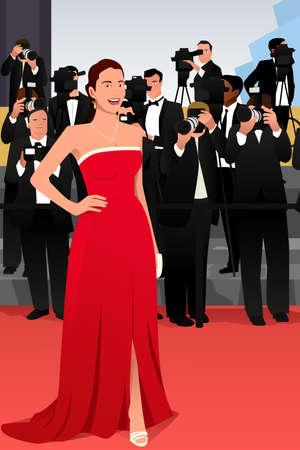 レッド カーペット イベントに行く美しい女性のイラスト。