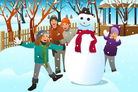 An illustration of Kids and Teenagers Friends Building a Snowman.