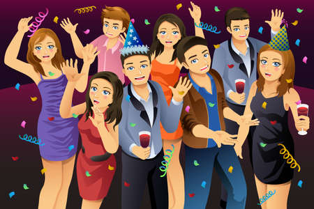 A vector illustration of Young People Having New Year Party Ilustração