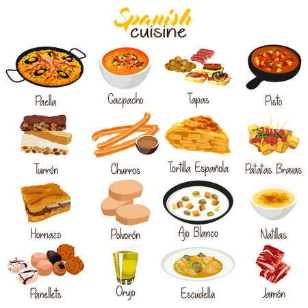 A vector illustration of Spanish Food Cuisine Illusztráció
