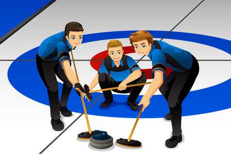 Une illustration vectorielle des athlètes de curling en compétition