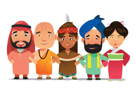 A vector illustration of Multi Ethnic People Linking Arms Together