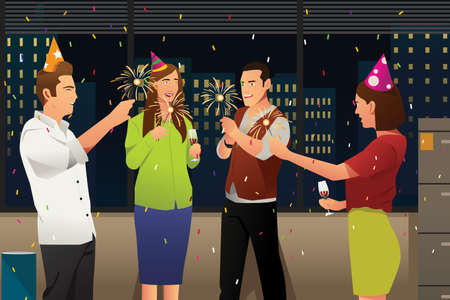 A vector illustration of Young People Having New Year Party