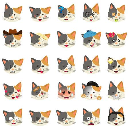 A vector illustration of Different Cat Emoji Expression Illustration